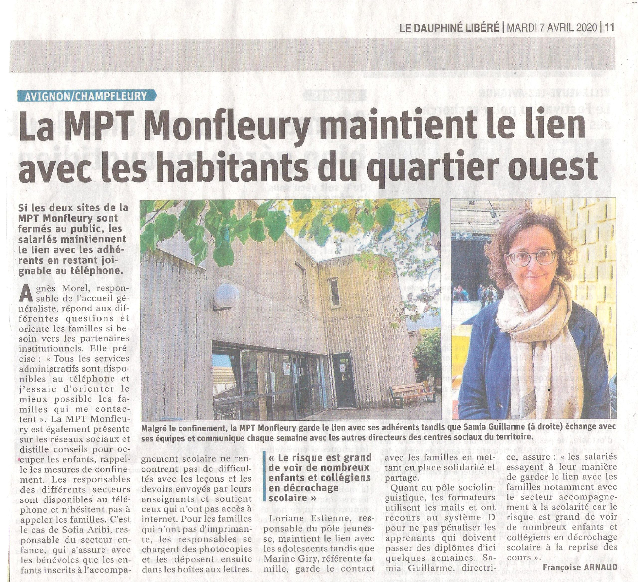 La MPT Monfleury maintient le lien avec les habitants du quartier ouest